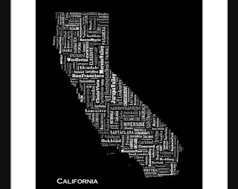 California Typography Map Poster Print Black
