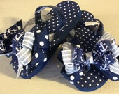 Girl's Size 10-11 Flip Flops with Navy & Silver Sailing Bows