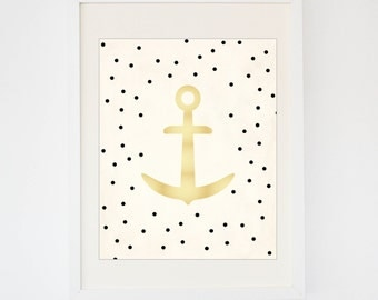 Gold Polka Dot Anchor Print