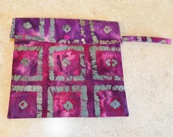 Dual Pocket Wetbag- Purple Squares