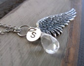 Angel Wing Necklace Pendant, Personalized Initial Birthstone Necklace, Long Chain Wing Pendant - ETERNITY