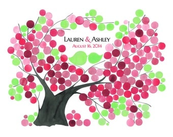 Anniversary Guest Book Alternative print - Wedding wish tree Custom names colors - SYCAMORE FIG TREE watercolor design