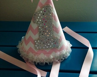 Pink chevron birthday hat
