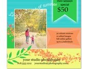 Instant Download - Photoshop PSD layered Templates for Photographers - Marketing Board-Holiday Mini Sessions - Spring-Summer
