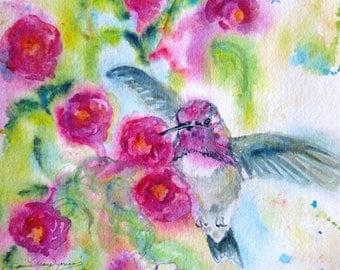 hummingbird art print, bird watercolor giclee print painting, fuschia flowers art print, wall decor, Janice Trane Jones, garden painting