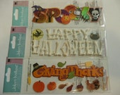 THANKS, SPOOKY, HALLOWEEN Jolee's Boutique Scrapbooking Supplies stickers - Turkey, Bones, Witch