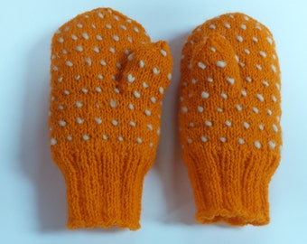 35% OFF SALE Wool Thrummed Mittens -Warm and Comfortably- Handknit Orange Childrens Mittens Age 8 to 10