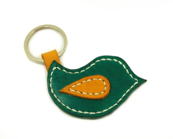 Handmade Leather Keychain, Bird Shaped Leather Keyring