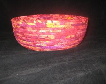 Bright Burgundy, Red and Orange Fabric Basket