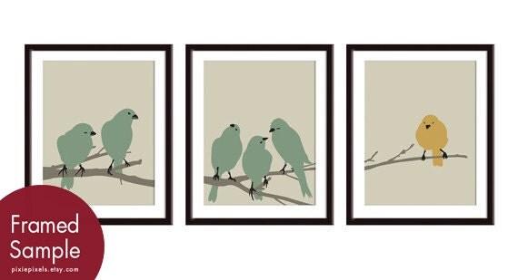 Birdies on a Branch Series- Set of  3- Art PRINT (Khaki Green & Autumn Yellow ) Customize your own colors