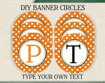 HALLOWEEN  EDITABLE  INSTANT Download Printable Editable Orange and White Polka Dots Circle Banner (Digital File)