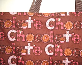 Chocolate Brown and Pink Shopping Tote Bag Reversible Market Bag