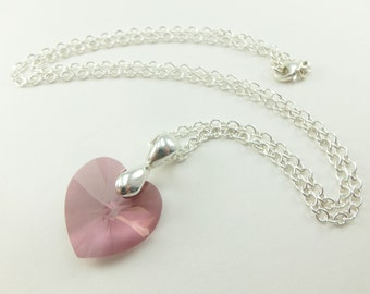 Silver Pink Heart Necklace Mauve Pink Swarovski Crystal Heart Necklace Pink Jewelry Sterling Silver