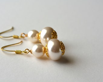 Classic Pearl Earrings Ivory Drop Earrings Gold Pearl Earrings Dangle Cream Gold Earrings