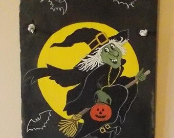 Halloween Slate, Original Design, Hand Painted, Full Moon Spells Cast, Witch On Broom, Bats, Halloween Design, Flying Witch, One Of A Kind