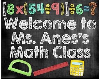 Teacher name sign, math class sign, school chalkboard digital, teacher appreciation gift, classroom decor, printable sign, gift for teacher