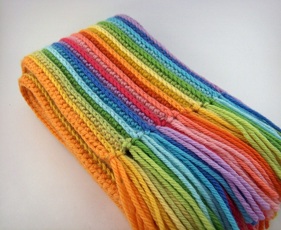 Crochet Patterns Merino Wool : Striped Rainbow Scarf Crochet Scarf with Merino Wool by JennOzkan