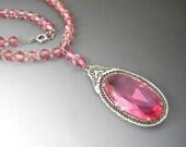 Art Deco Pink Glass Drop Necklace