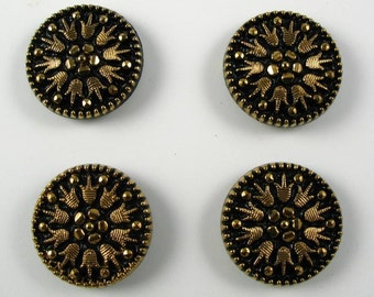 Vintage Glass Buttons - Black with Gold Metallic - 4 buttons