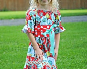 Girls Flower and Polka Dot Party Dress, Girl Dresses, Peasant Dress, Christmas Dress, Toddler Dress, red dress, size 5