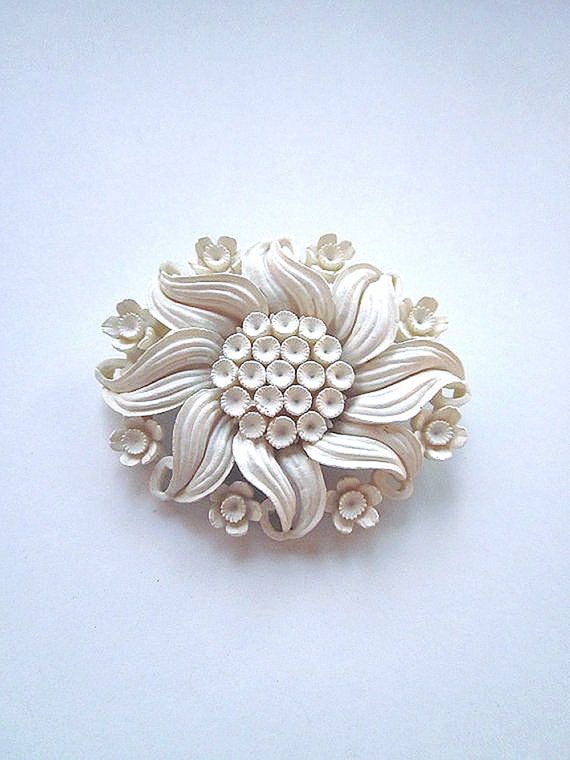 Vintage Flower Brooch, White Jewelry, Carved Brooch, Floral Jewelry
