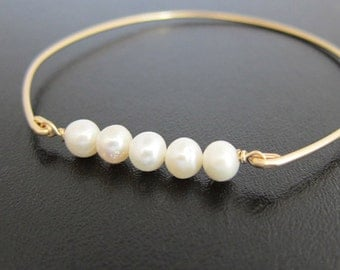 White Pearl Bracelet, Gold, Pearl Jewlery, Pearl Bangle Bracelet, Pearl and Gold Bracelet