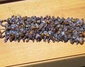 5 dollar CLEARANCE - Handmade Amethyst and Amber Beaded Bracelet