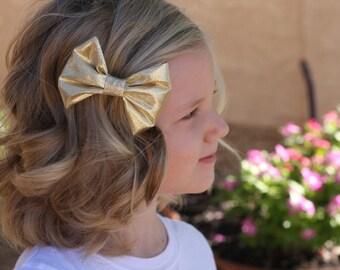 Gold Bow Clip Gold headband  Metallic gold clip