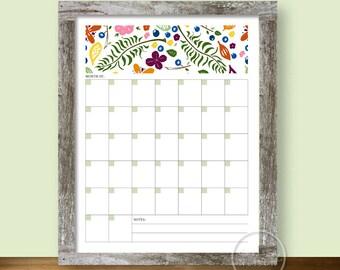 Calendar Berries Ferns Flowers - Blank Monthly Printable