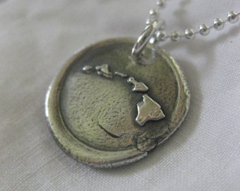 Round Hawaiian Island Wax Seal Pendent by Sister Creation