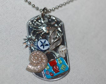 Crab Gumbo Dog Tag Charm Necklace , Beach Collage Necklace , Beach Vacation Necklace , Mixed Media Beach Necklace , Ocean Collage Dog Tag e
