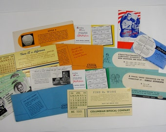 Ink Blotter Cards lot of 16 with Vintage Optical Advertising