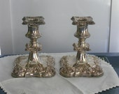 Heavy Vintage Silver Metal Candlesticks, Ornate Floral Relief Pair Candleholders