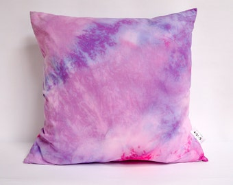 "Orchid and Rose shibori pillow cover 20"" square"