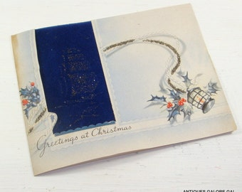 Vintage Christmas Greetings Card, Happy New Year, Bible Verse, Sail Ship, Lighthouse, Glitter  (440-14)