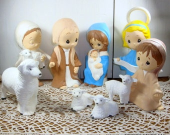 Vintage Ceramic Nativity, 9 Pieces, Angel, Shepard, Lamb, Joseph, Mary, Baby Jesus, Religious Christmas Decoration, Holiday Decor (508-14)
