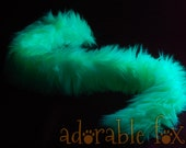 Faux Fur Cat Tail - Neon Green - BLACKLIGHT REACTIVE - Cosplay / Furry / Costume
