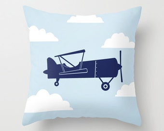 Biplane with Clouds Blue Throw Pillow Cover Case 16X16 or 18x18 Or 20x20 Hidden Zipper