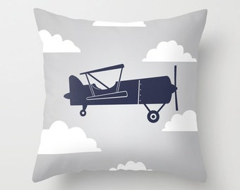 Biplane with Clouds Navy Blue/Gray Throw Pillow Cover Case 16X16 or 18x18 Or 20x20 Hidden Zipper