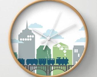 Train and Bridge Blues and Greens Wall Clock 10 inch Diameter