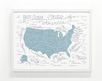United States Map Poster, US Map, Travel Map Poster, Art Print - USA Map: