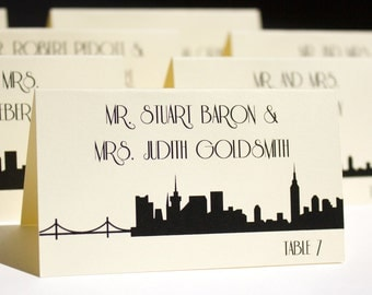 NYC Place Card Escort Black Handmade Custom New York Wedding Placecard Other Cities Available