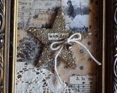 Framed Christmas Collage With Glitter Star and Vintage Photo