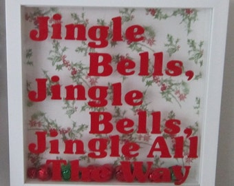Jingle Bells White Shadowbox Decoration