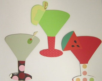 Martini Drinks Chipboard Magnets Set of 3