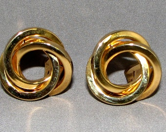 Vintage Large And Lovely Golden Circle Earrings 6352 Free Shipping