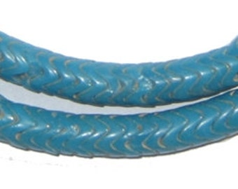 Glass Snake Beads, Turquoise Color Large - African Trade Beads - Czech - Jewelry Making Supplies - Made in Ivory Coast ** (snake-beads-215)