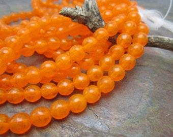 Orange Opal Druk Czech Glass 6mm Round Beads