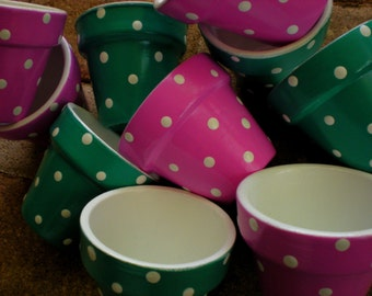 Polka Dot Pots - Painted Flower Pots - Shower Favor Pots - Outdoor Party Favors - Kids Party Favors