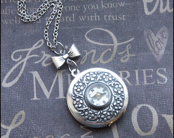 Silver Compass Locket Necklace- Enchanted No Place Like Home - Jewelry by TheEnchantedLocket - PERFECT Graduation Wedding Gift